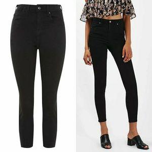 Topshop Jamie Moto Black High Rise Skinny Jeans 30